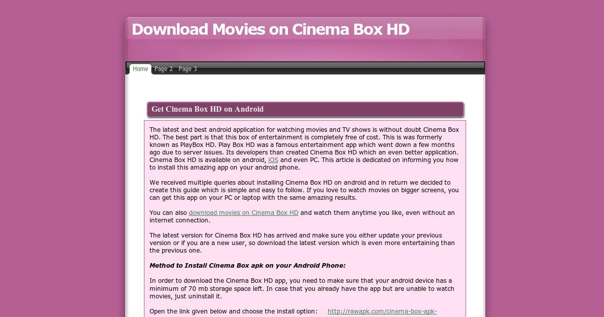 cinemabox hd app not working